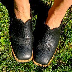 TWISTED X black slip on Mule leather 7